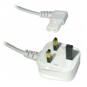 1m White Angled Figure 8 Power Cord C7 90 Degree Lead