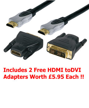 2m Hdmi Cable Kit with Free HDMI to DVI Adapters SLX Gold 26608H