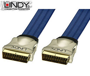 2m Premium Gold Scart Lead - Scart to Scart Cable Lindy 37561