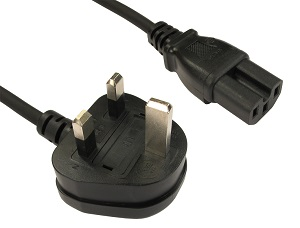 1m C15 IEC Power Cable UK 3 Pin Plug to Kettle C15 Plug Power Lead