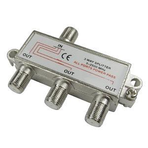 3 Port Satellite F-Connector Splitter