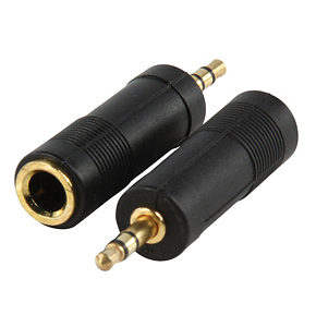 3.5mm Stereo Plug to 6.35mm Stereo Socket Adapter Gold