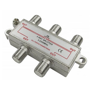 4 Port F-Connector Coaxial Satellite Splitter