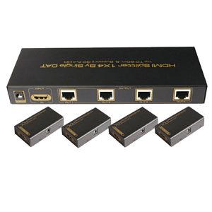 HDMI Over CAT5 4 Way Splitter Kit, CAT5/6 Splitter with 4x Receivers 60m