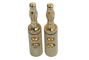 Banana Plug 4mm - Gold Plated - Black & Red (1 pair)