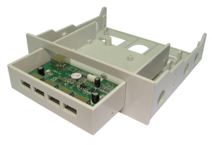 USB 2.0 4 Port Internal Hub For 3.5 And 5.25 Drive Bay