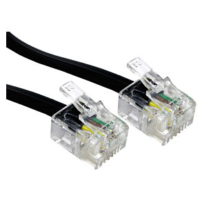 1m Black RJ11 ADSL Modem Cable