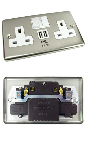 Chrome Wall Mains Socket with built in 2x USB Charging Ports