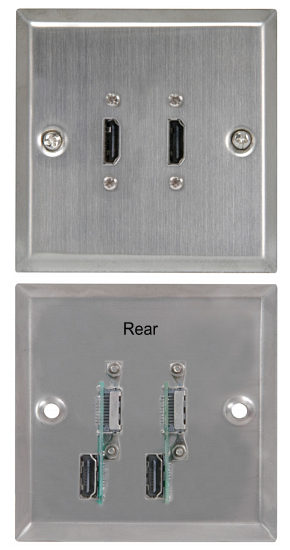 HDMI Wall Plate Dual HDMI Brushed Steel Finish with Rear Connectors