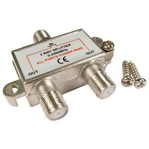 2 Port Satellite F-Plug Aerial Splitter