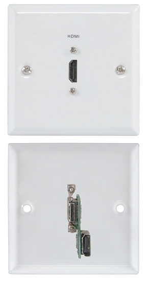 Single HDMI Wall Plate White Steel Finish with Rear HDMI Connector