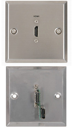 HDMI Wallplate - Steel Finish with Rear HDMI Connector