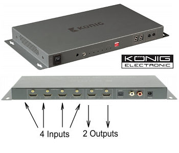4 x 2 HDMI Matrix Switcher - 4 Input 2 Output