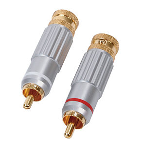 Phono Plug HQ Gold Plated Metal Body 8mm Diameter Cable
