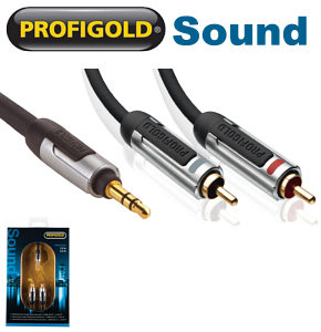 Profigold PROA3402 3.5mm jack to 2 x RCA Phono Audio Cable 2m