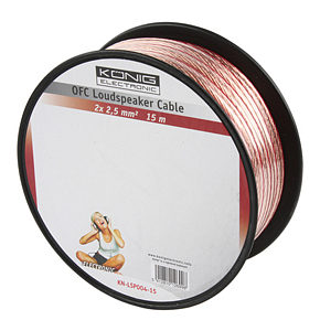 15m Speaker Cable 2 x 2.5mm OFC Transparent Jacket