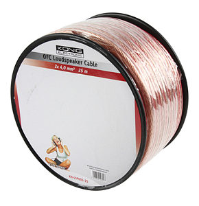 25m Speaker Cable 2 x 4mm OFC Transparent Jacket