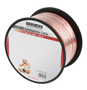 25m Speaker Cable 2 x 2.5mm OFC Transparent Jacket