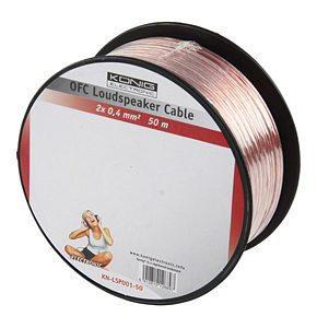 50m Speaker Cable 2 x 0.4mm OFC Transparent Jacket