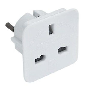 European Travel Adapter 3 Pin UK to 2 Pin Euro Plug