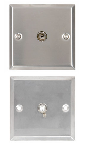 TV Aerial Wallplate - Steel Finish TV Aerial Socket Plate