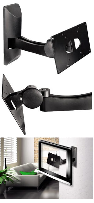 "Tv Wall Bracket with Tilt and Swivel 10"" - 32"" Black"